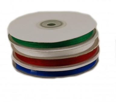 6 mm breite  Organza Bänder 50 m  lang - Seiten abgenäht
