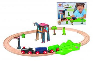 Eichhorn EH Eisenbahn - Set - Oval mit Zubehör - 18 tlg. 205 cm Holzeisenbahn