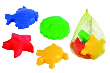 4 Sandformen im Netz - Simba Outddor Spielzeug - Sand - Strand Förmchen Kinder