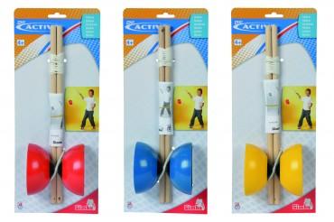 Diabolo mit Holzstab - Farbwahl - Kunststoff Diabolos 10 cm - ab 3-4  Jahren