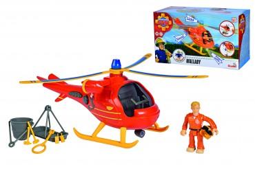 Simba Sam Feuerwehrmann Hubschrauber Wallaby mit Figur