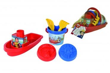Simba Feuerwehrmann Sam Boot gefüllt - Sandspielzeug - Sandkasten Set