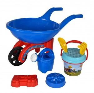 Simba SAM Feuerwehrmann - gefüllte Schubkarre - Sandspielzeug Set
