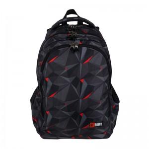 Schulrucksack Rucksack für Schule Oberstufe 25 l schwarz-rot-grau St.Right