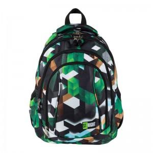 Schulrucksack Rucksack für Schule Oberstufe  26 l 3D Blöcke Jungen grün 4 Fächer