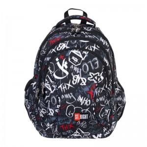 Schulrucksack Rucksack für Schule Oberstufe  24 l 3D Jungen Herren 4 Fächer Graffiti