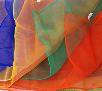 6 er Set Jongliertücher 70 x 70 cm - 6 Standard Farben