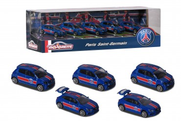 Majorette PSG  Auto Set - 5 Autos in Geschenkpackung Paris Saint-Germain