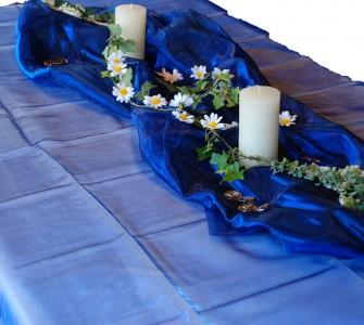 Organza Tischdecke 1,45 x 3,00 m dunkelblau