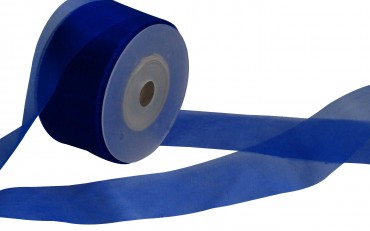Organzaband 4 cm x 50 m blau - Organzabänder