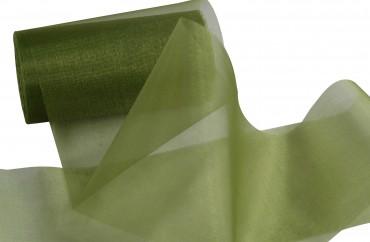 Organzaband 12 cm x 25 m olivgrün - Organzastoff