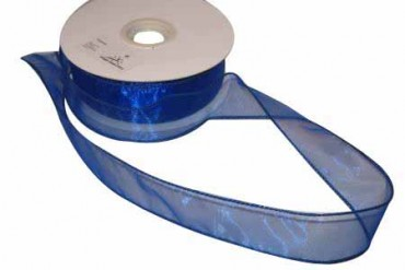 Organzaband 4 cm x 45 m blau - Rand genäht, formbar