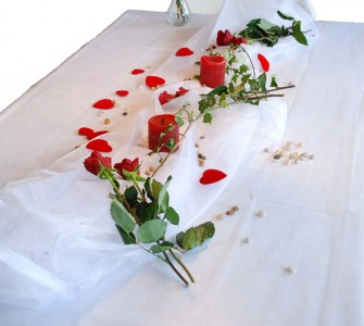 Organza Tischdecke 1,50 x 3,00 m weiß Dekostoff