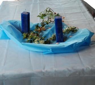 Organza Tischdecke 1,50 x 3,00 m hellblau Dekostoff