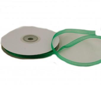 Organzaband 6 mm x 50 m grün - Organzabänder Seiten abgenäht