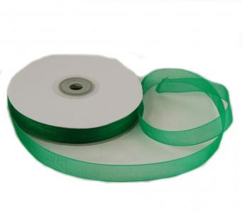 Organzaband 12 mm x 50 m grün - Organzabänder Seiten abgenäht