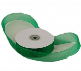 Organzaband 25 mm x 50 m grün - Organzabänder Seiten abgenäht