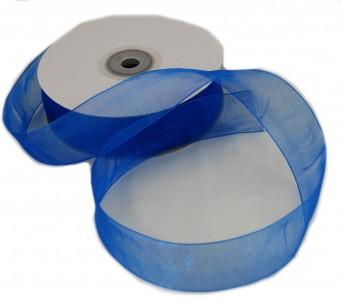 Organzaband 25 mm x 50 m blau - Organzabänder Seiten abgenäht