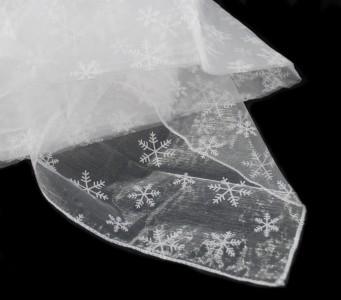 Organza Tischdecke 1,50 x 3,00 m weiß Flocken mit Schneeflocken