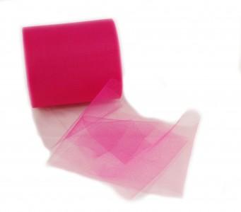 Tüll in Lippenstift pink 12,5 cm x 100 m Tüllstoff - Maxi Rolle Dekostoff