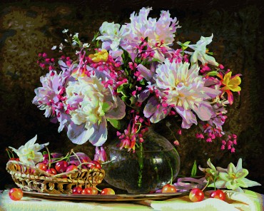 Malen nach Zahlen - Blumenstrauß mit Kirschen - Meisterklasse Premium Schipper