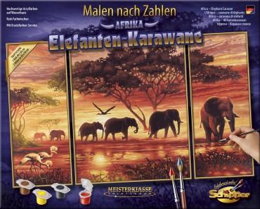 Malen nach Zahlen - Elefanten-Karawane - Schipper Meisterklasse Triptychon