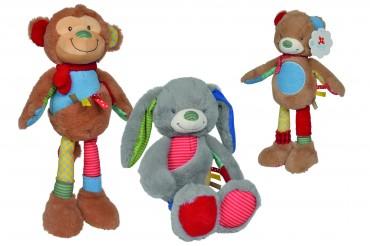 Nicotoy Long Legs patchwork - Affe, Hase  - Plüsch Affe, Hase, Bär kuschelweich