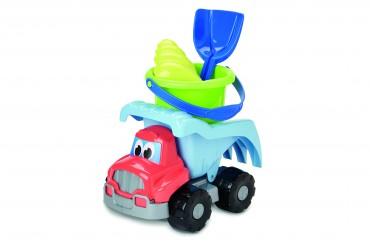 Simba Kipplaster mit Zubehör - Baustellen Fahrzeug mit Sandeimer Spaten Förmchen