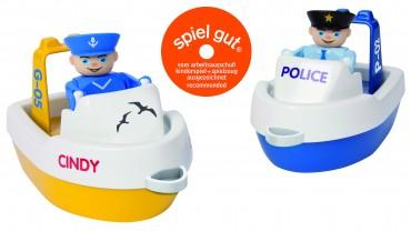 BIG Waterplay Boot Set - Polizei Boote mit Figuren Wasser Spielzeug