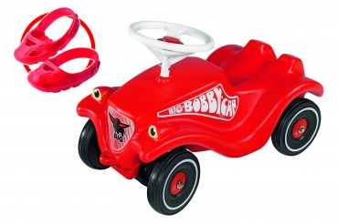 Big Bobby Car rot inkl. Flüsterräder und Schuhschutz - rotes Bobby Auto