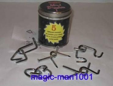 5 - teiliges Metallpuzzle Set - Metalldose mit Beschreibung