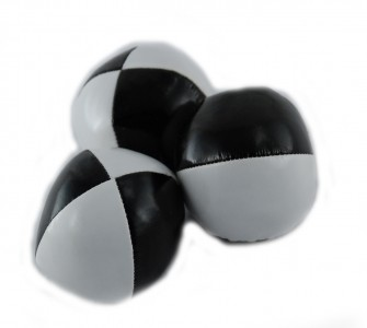 Jonglierball 6,3 cm in weiß-schwarz, glatt, Bean Bag - Jonglierbälle