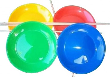 Jonglierteller mit Holzstab - Jonglieren  Jonglierteller mit Holzstab - blau