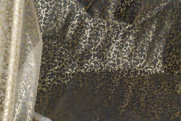 Organza - weiss - Gold-Blumen 70 cm x 10 m