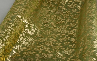 Organza - heugrün - Gold-Rosen 70 cm x 10 m